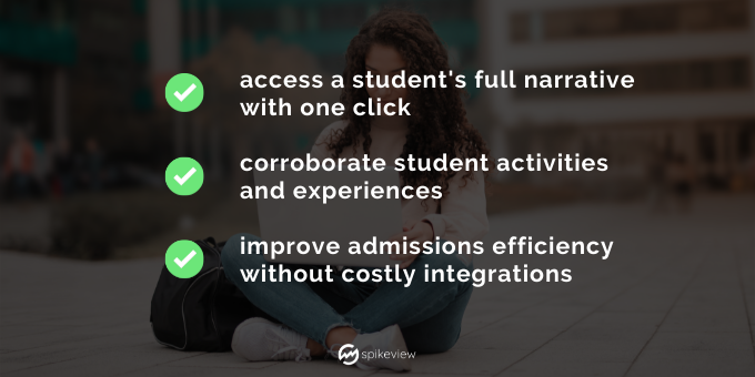 spikeview gives access to a student's full narrative, corroborate student's activities, improves admissions efficiency without costly integrations