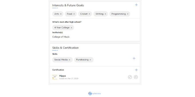 my spikeview - interests, future goals, skills, certifications